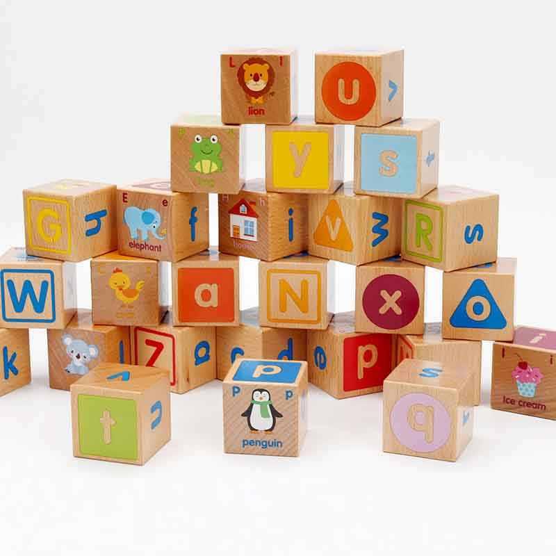 Детские деревянные игрушки кубик фигурные блоки обучающая игрушка для раннего обучения 26 Алфавит животные познавательные строительные блоки детский Рождественский подарок