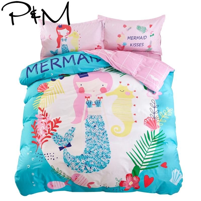 cartoon mermaid princess print blue linens bedding 100% cotton Twin/Queen Size duvet cover+bedsheet+pillowcases sheets