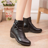 Waterproof Women Boots Female Ankle Boots 2017 New Arrival Genuine Leather Wedges Snow Boots Plush Size