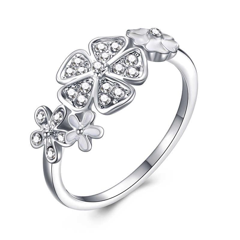 אופנה גביש כסף צבע טבעת לנשים פרח אהבת לב כתר אצבע טבעות קוקטייל חלק מותג טבעת תכשיטי Dropshipping