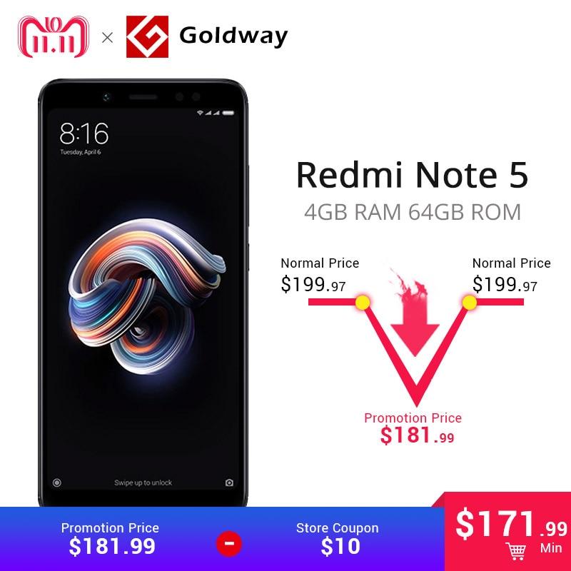 """Глобальная версия Оригинальный Xiaomi Redmi Note 5 4 ГБ Оперативная память 64 ГБ Встроенная память Смартфон Snapdragon 636 Octa Core 5,99 """"18:9 полный Экран 4000 мАч"""
