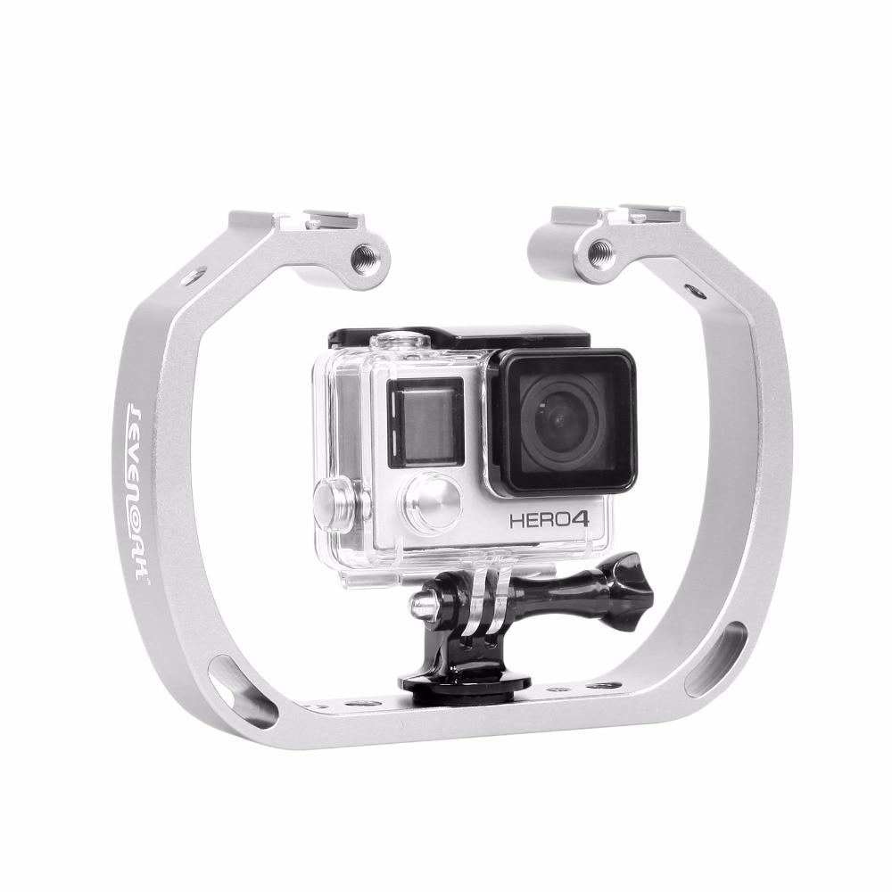 Diving Underwater Aluminum Selfie Monopod Mount Double-Arm Tray Handheld For Gopor Action Camera Holder
