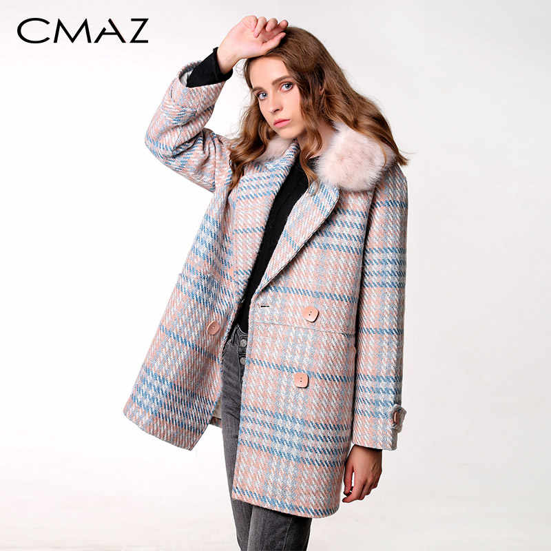 CMAZ 2019 New Women outerwear winter clothing fashion warm woolen blends female elegant Double Breasted woolen coat MX18D9679