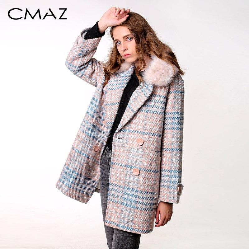 CMAZ 2019 nouveau vêtement d'extérieur pour femmes vêtements d'hiver mode laine chaude mélanges femme élégant Double boutonnage manteau de laine MX18D9679