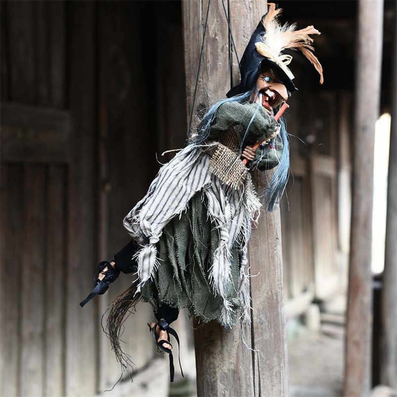 Árvore Parede Porta Pendurado Bruxa do dia das bruxas Enfeites de Decoração Da Casa Adereços Boneca Bruxa Assustador Horror Olhos Elétrica Acessórios Do Presente Do Partido