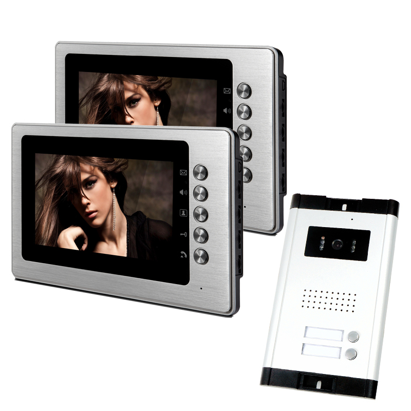 New Apartment Intercom 2 Monitors 7 Color Screen Video Door Phone Intercom System for 2 House / Family In Stock FREE SHIPPING new 4 3 video intercom apartment door phone system 2 hand held monitors 1 door camera for 2 household in stock free shipping