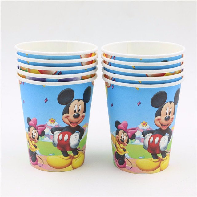 20pcs/lot disposable party round paper cup mickey mouse cartoon theme tableware glasses birthday party  sc 1 st  AliExpress.com & 20pcs/lot disposable party round paper cup mickey mouse cartoon ...