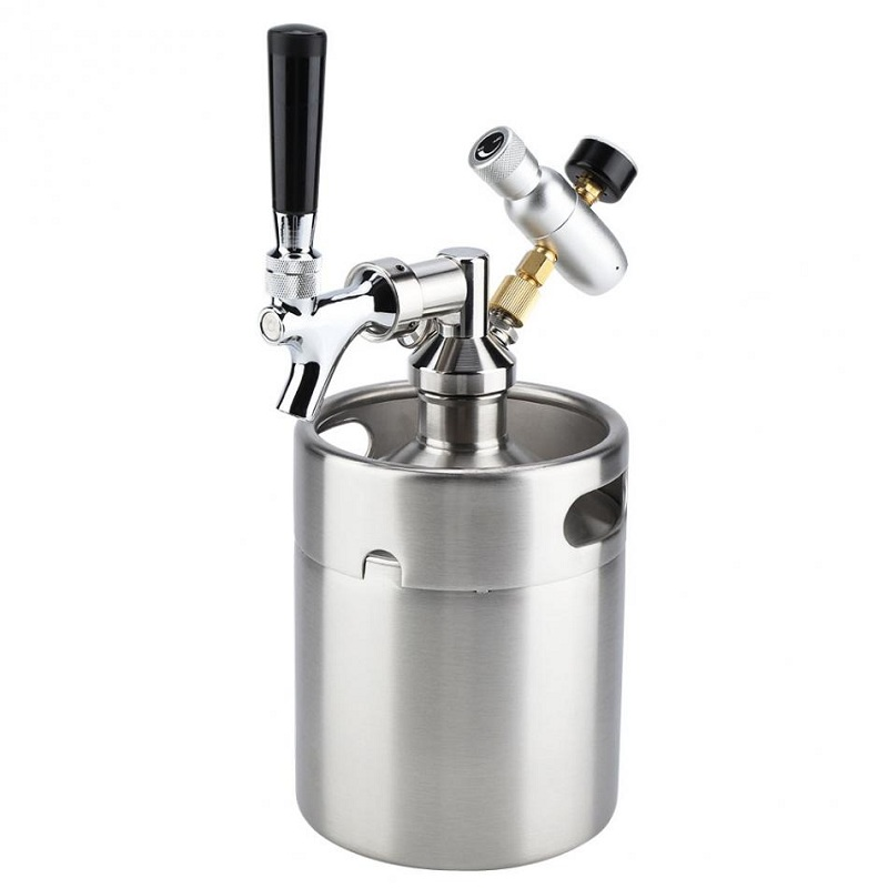 2L 304 Stainless Steel Beer Growler Mini Keg Brewing Ferment Storage Dispense Craft Adjustable Beer Brewing Keg Making Equipment image