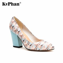 KvPhan Genuine Leather High Heels Women Shoes Geometric Pattern Casual Shallow Mouth Slip-on Square Heels Dress Women Shoes