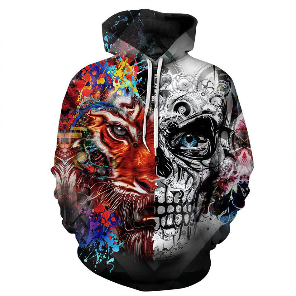 Joyonly New 2018 Women/Men 3D Colorful Sweatshirts Print Tiger Skull Paint Punk Style Hooded Hoodies Thin Unisex Pullovers Tops