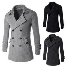 Мужчины Стильный Плащ Зимний Хлопок 3 Цвета Длинные Повседневные Куртки Двойной Брестед OvercoatsFor Европа и Америка Мода