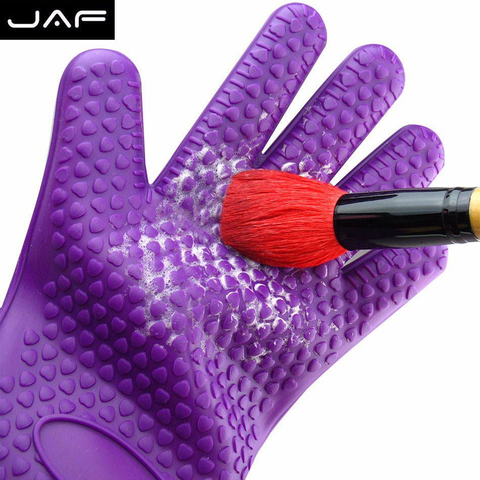 JAF Silicone Cosmetics Cleanser Makeup Brush Cleaner Glove Cleaning Tool Gloves Reshaping makeup brush cleaner board hot pink apple shaped makeup brush cleaner