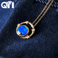 QYI Opal Necklace 18K Yellow Gold Round Natual Blue Opal Diamond Pendents Gifted for Women Valentine's Day Gift