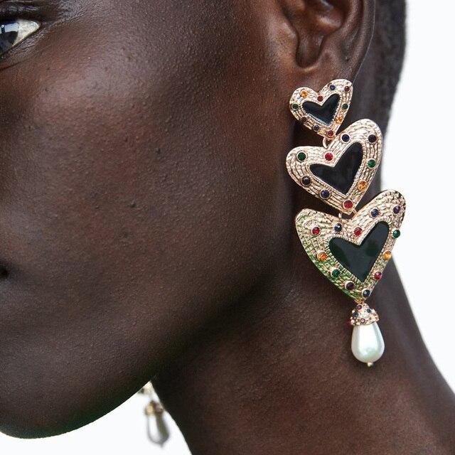 JUJIA Nouveau Bijoux De Luxe Simulé Perle Coeur D'amour Longue Déclaration Strass Boucles D'oreilles Pour Les Femmes Pendientes