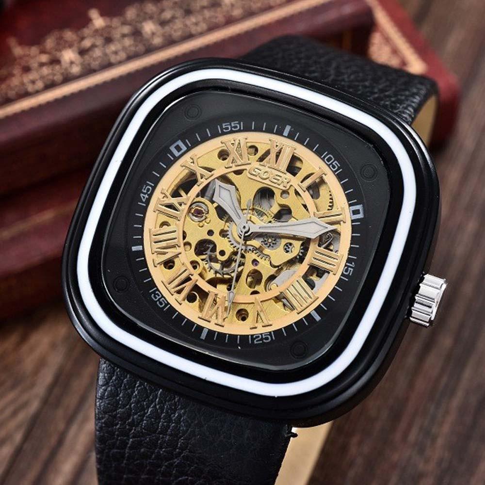 GOER Men Fashion Sports Mechanical Watches PU Leather Strap Square Automatic Mechanical Skeleton Wrist Watches Relogio Masculino цена и фото