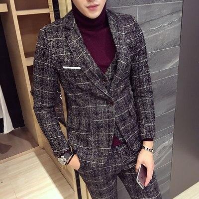 Mens Suit Latest Coat Pant Designs Checkered Suit Plus Size M-5XL Slim Fit Wedding Prom Suits 3 Piece (Jacket+Vest+Pants) 2018