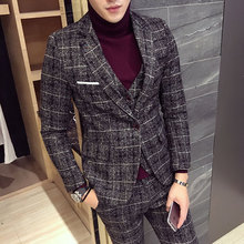 Mens Suit Latest Coat Pant Designs Checkered Plus Size M-5XL Slim Fit Wedding Prom Suits 3 Piece (Jacket+Vest+Pants) 2018