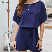 2019 Summer New Playsuit Women Belted Elegant Office Overalls Beach Romper Casual Loose O Neck Short Sleeve Jumpsuit Plus Size plus shawl collar belted plaid romper