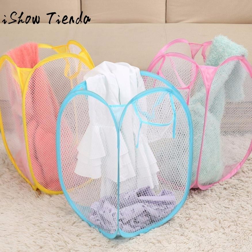 New Foldable Clothing Bag Pop Up Washing Clothes Laundry Basket Bag Hamper Mesh Storage Rangement Vetement