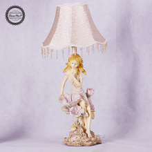 TUDA 24X67cm Free shipping creative Flower Fairy Resin Table Lamp European Style LED Table Lamps For Living Room Bedroom E27