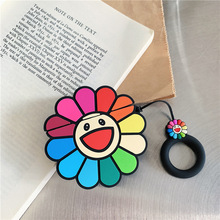 3D Cartoon Case For AirPods Silicone Bluetooth Earphone Charging box Airpods 2 cute Protective Cover Sun flower Smiley