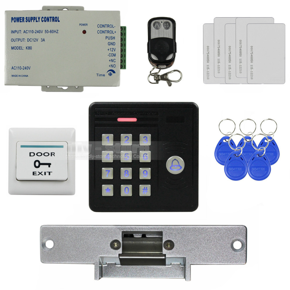 DIYSECUR Waterproof 125KHz Rfid Card Reader Door Bell Button Keypad + Electric Strike Lock Door Access Control Security Kit wireless home security door bell call button access control with 1pcs transmitter launcher 1pcs receiver waterproof f3310b