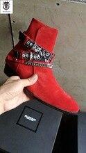 FR.LANCELOT 2019 New Chelsea boot men suede leather boots point toe buckle ankle boots metal sliver chains botas party shoes men недорого