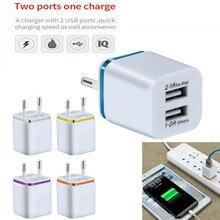 EU US Plug Dual USB Charger 5V / 2A Fast Charging USB Charger