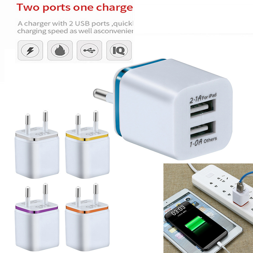 EU US Plug Dual USB <font><b>Charger</b></font> <font><b>5V</b></font> / 2A Fast Charging USB <font><b>Charger</b></font> Tablet Universal Mobile Phone Wall Adapter for iPhone XS Max z85 image