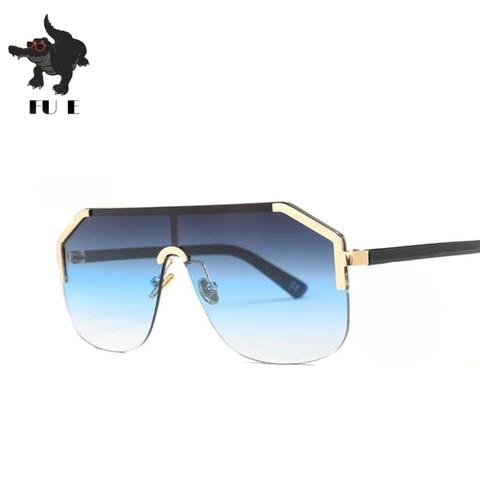 FU E New Gradient Retro Siamese Lens Square Sunglasses Women Brand Designer Half Frame Shield shape Mens Sunglasses UV400  22071 Karachi