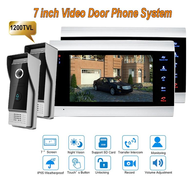 New 7 Inch 1200TVL Video Intercom System Door Phone Doorbell With  IP65 Wide Angle 110 Degree Camera DoorPhone 2v2