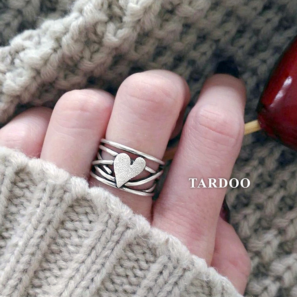 Tardoo Real 925 Sterling Silver Heart Shape Finger Rings for Women And Girl Nail Sand Embellish Wedding Sterling Silver Jewelry