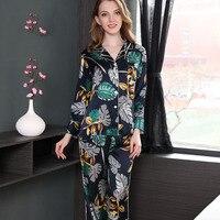 CEARPION осень весна новый для женщин Пижамный костюм с цветочным принтом длинным рукавом 2 шт. рубашка + брюки пижамы повседневное ежедневно