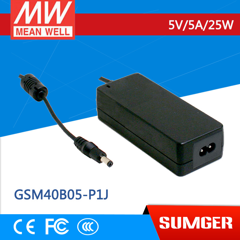 1MEAN WELL original GSM40B05-P1J 5V 5A meanwell GSM40B 5V 25W AC-DC High Reliability Medical Adaptor 1mean well original gsm160a24 r7b 24v 6 67a meanwell gsm160a 24v 160w ac dc high reliability medical adaptor