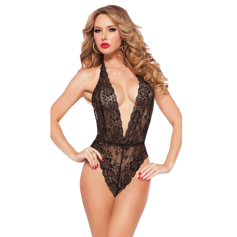 2020 Valentine'S Day Sexy Lingerie Hot Red Black Lace Deep_v Neck Teddy Sexy Erotic Underwear Lingerie Lenceria Sexy Costumes