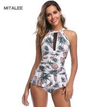 MITALEE High Neck Swimwear Women Print Bandeau Swimsuit Bikini Brazilian Beach Bathing Suit Push Up Bikini Set Maillot De Bain все цены