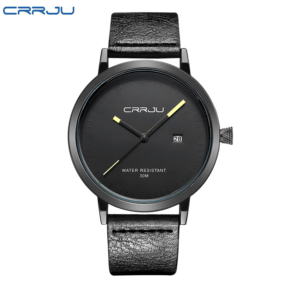 dcbf80f4f73 ... Forma do Relógio Preto de Couro Crrju Homens da Genuíno de Quartzo  Relógios Calendário Quartzo-relógio à Prova d  Água Negócio Relógio Pulso  Relojes ...