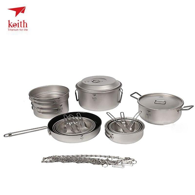 Keith Outdoor Titanium 21 in 1 Camping Tablewares Cookwares Set Camping Hiking Picnic Cookware Cook Cooking Pot Bowl Set Ti6201