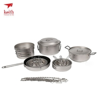 Keith Outdoor Titanium 21 in 1 Camping Tablewares Cookwares Set Camping Hiking Picnic Cookware Cook Cooking Pot Bowl Set Ti6201
