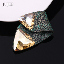 JUJIE Vintage Exquisite Crystal Brooches For Men 2020 Fashion Geometric Women Brooch Pins Metal Lapel Plant Jewelry Wholesale jujie fashion crystal deer brooches coat clothing scarf lapel pins elk corsage fashion jewelry