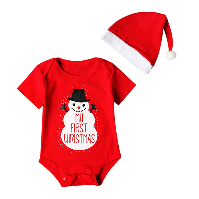 dd61d4673 2017 New Newborn Baby Kids Girls Boys Merry Christmas Romper Set + ...
