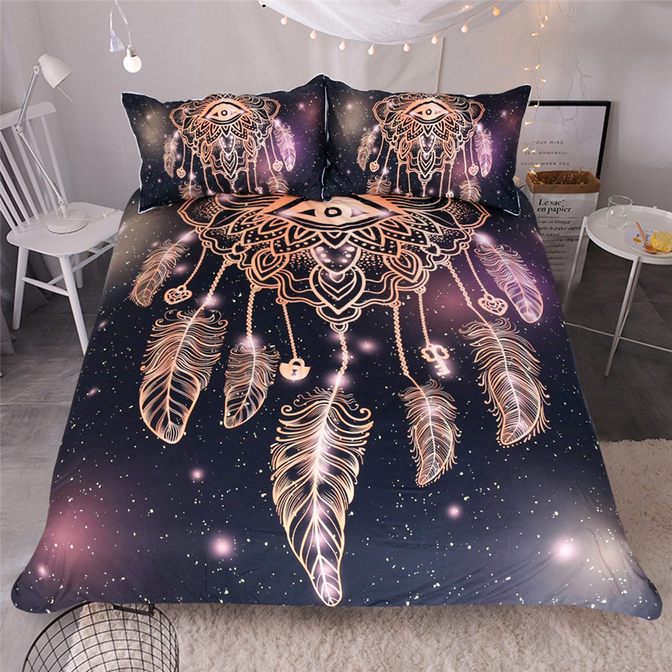 LISM Dream catcher eyes Bedding Set King Size Luxury Galaxy Golden Print Bohemian Bedclothes 3d Duvet Cover pillowcase