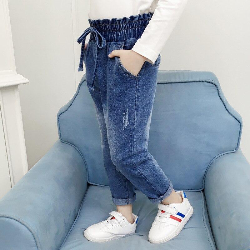 Children Clothing Baby Girls Pants Child Washed Denim Jeans Kids Girls  Trouser Ruffle Elastic Children Casual Jeans Trousers|Jeans| - AliExpress