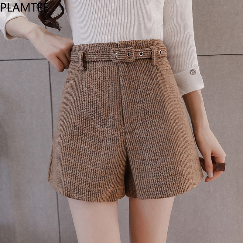 PLAMTEE Office Lady Elegant Women   Shorts   Free Belt Women   Short   Femme High Waist Solid Slim Wide Leg   Shorts   Fashion Plus Size New