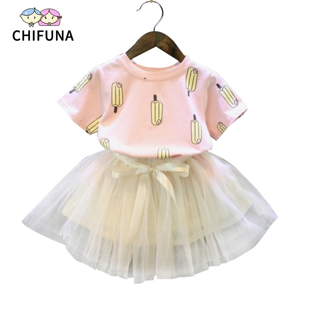 Chifuna Girls Clothing Sets 2018 New Brand Girls Clothes Summer Style Icecream Printed T-shirt+ White Volie Skirts 2Pcs For Girl