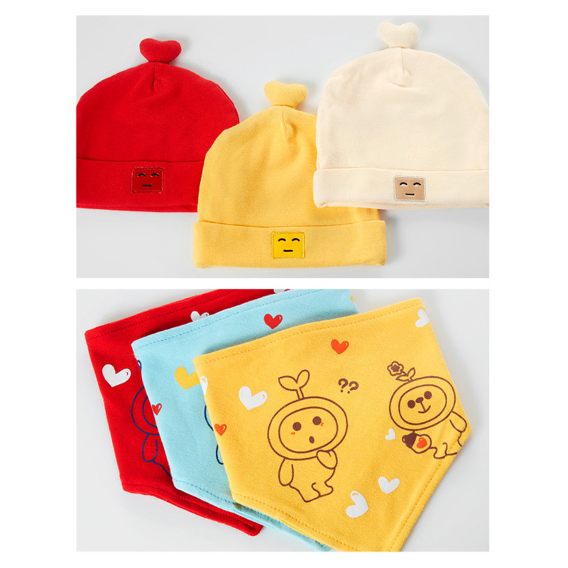 6e5da46c613 Cotton Baby Hat with Bib Baby Boys Girls Clothing Set Newborn Hats Bibs  Child Baby Feeding Bandana Baby Accessories 0 8 Months-in Hats   Caps from  Mother ...