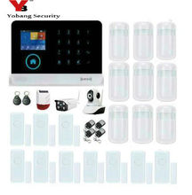 Yobang Security FR RU ES PL DE Switchable Wireless wifi Home Security WIFI+GPRS+GSM Alarm system APP Remote Control RFID