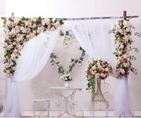 Цвета шампанского с травой зеленый Свадебный цветок стены Искусственный шелк цветок фон Свадебные украшения дома