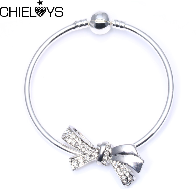 CHIELOYS Classic Silver Colour Bowknot Bracelet & Bangles For Women Bowknot Charm Pandora Bracelet Mothers Day Gift Jewelry