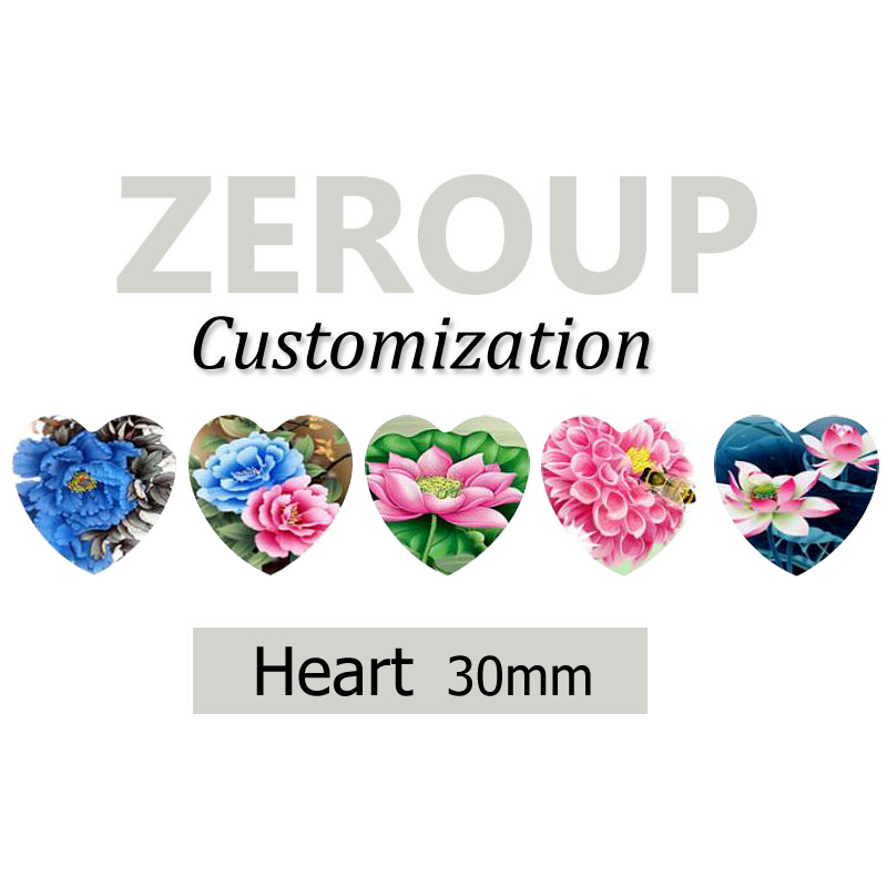 ZEROUP Professional customized services 30mm heart pictures glass cabochon mixed patterns jewelry components 54pcs/lot
